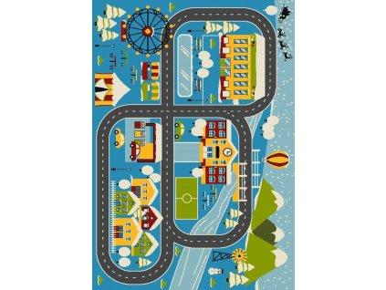 Dětský kusový koberec Streets 587 Město uličky modrý
