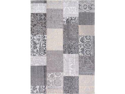 Moderní kusový koberec Patchwork šedý / černý