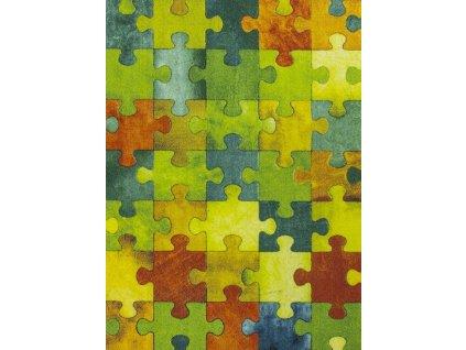 Dětský kusový koberec Puzzle multicolor vícebarevný