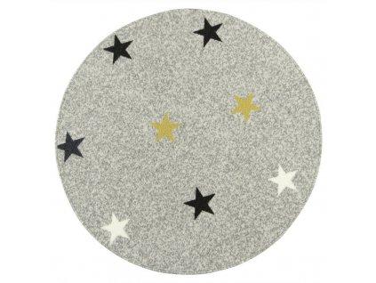 Kulatý koberec Stars Mix Hvězdy světle šedý