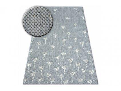 Kusový koberec Sisal FLAT 48779/637 Květy šedý krémový