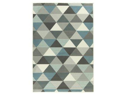 Kusový koberec LUNA 503430/95832 trojúhelníky modrý