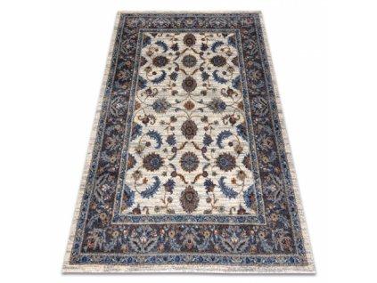 Klasický kusový koberec SOFT 6019 Květy béžový / modrý / červený