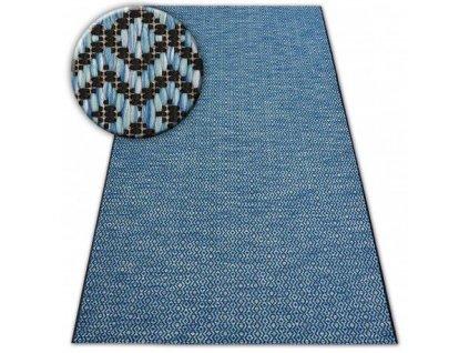Kusový koberec SISAL LOFT 21144 ROMBY modrý / černý / stříbrný