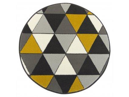 Kulatý koberec LUNA 502902/89925 šedý / žlutý