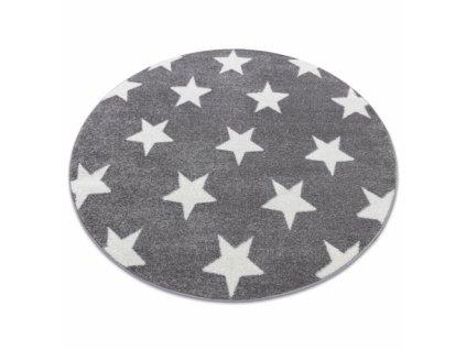 Kulatý koberec SKETCH - FA68 Hvězdy šedý bílý