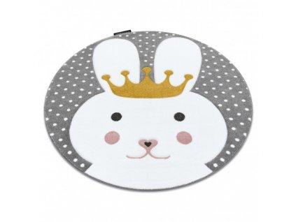 Dětský kulatý koberec PETIT Králiček šedý