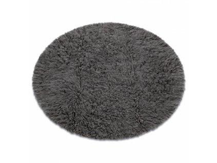 Kulatý vlněný koberec FLOKATI šedý