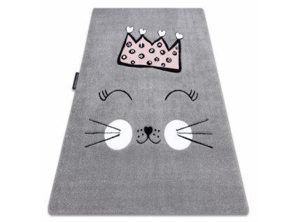 Dětský kusový koberec PETIT Kočka šedý