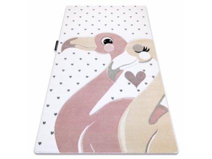 Dětský kusový koberec PETIT Plameňáci / srdíčka krémový