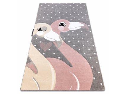 Dětský kusový koberec PETIT Plameňáci / srdíčka šedý