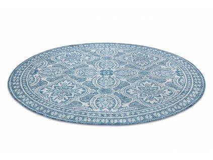 Kulatý koberec SISAL LOFT 21193 modrý / stříbrný / slonová kost