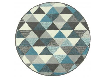 Kulatý koberec LUNA 503430/95832 trojúhelníky modrý