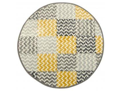 Kulatý koberec LUNA 503568/89935 hořčicový patchwork