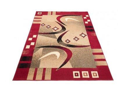 Kusový koberec ATLAS F741C Červený / tmavě béžový