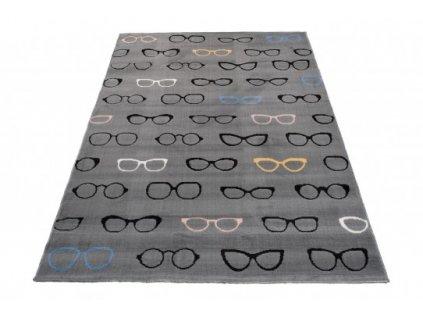 Dětský kusový koberec XENO 33493/071 Brýle šedý