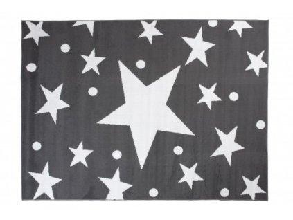 Moderní kusový koberec BALI C440A Hvězdy tmavě šedý / bílý