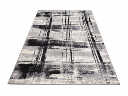 Kusový koberec F442C CHEAP Pruhy bílý / šedý