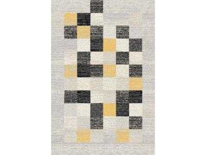 Moderní kusový koberec Agnella Eden Pix Kostky šedý / žlutý