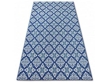 Kusový koberec Sisal COLOR 19246/699 Květy modrý
