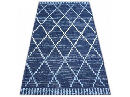 Kusový koberec Sisal COLOR 47268/309 modrý geometrický vzor