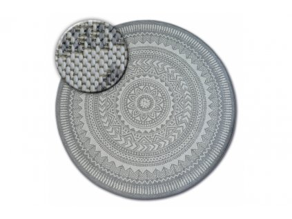 Kulatý koberec Sisal FLAT 48695 637 šedý
