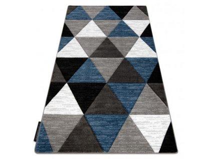 Kusový koberec ALTER Rino Trojúhelníky šedý / modrý
