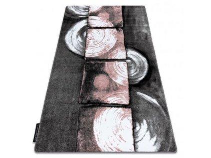 Kusový koberec INTERO 3D šedý / růžový