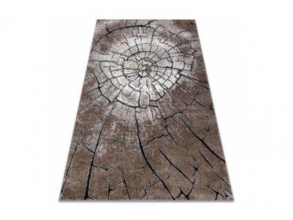 Moderní kusový koberec COZY 8875 Pařez stromu hnědý
