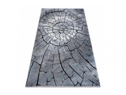 Moderní kusový koberec COZY 8875 Pařez stromu šedý modrý