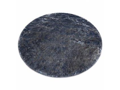 Kulatý koberec Shaggy LAPIN slonová kost / černý