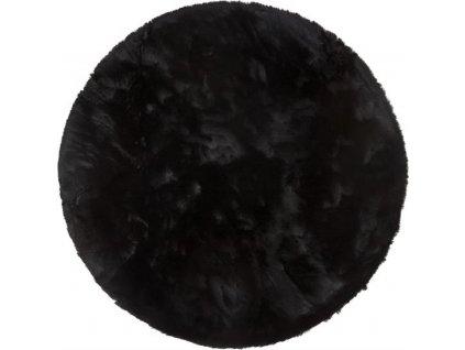 Kulatý koberec Shaggy Veneto jednobarevný černý