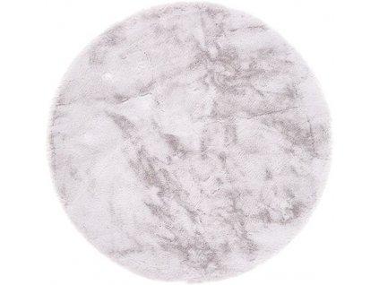 Kulatý koberec Shaggy Veneto jednobarevný stříbrný