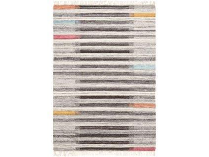 Kusový koberec vlněný Kilim IK 554 šedý