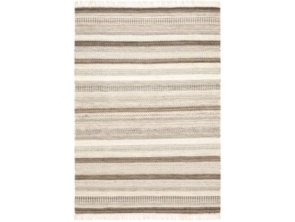 Kusový koberec vlněný Kilim JK 201 Pruhy krémový / béžový