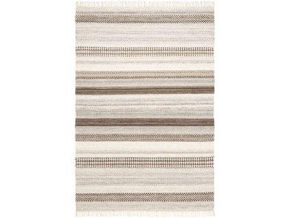 Kusový koberec vlněný Kilim JK 207 Pruhy krémový / béžový