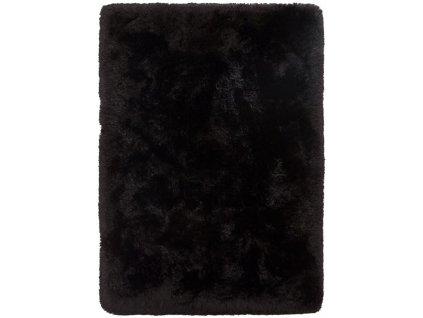 Kusový koberec jednobarevný Shaggy  Plush černý
