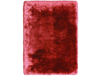 Kusový koberec jednobarevný Shaggy Plush červený