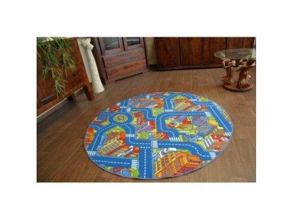 Kulatý dětský koberec ULIČKY BIG CITY modrý