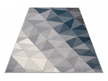 Kusový koberec moderní FIKA 78589 3D vzor krémový / modrý