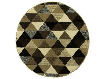 Kulatý koberec LUNA 503430/67911 trojúhelníky hnědý