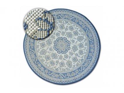Koberec kulatý Sisal FLAT 48691 591 Květy modrý