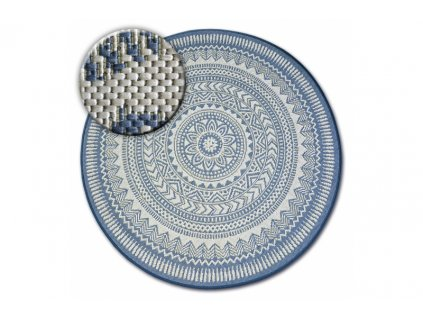 Kulatý koberec Sisal FLAT 48695 591 modrý