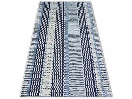 Kusový koberec Sisal COLOR 47276/396 Pruhovaný bílý modrý