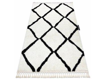 Kusový koberec BERBER CROSS bílý černý