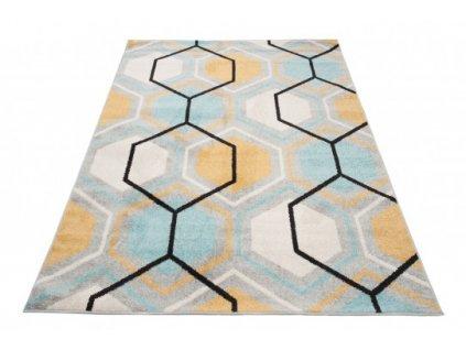 Kusový koberec LAZUR C569B šedý / modrý / žlutý