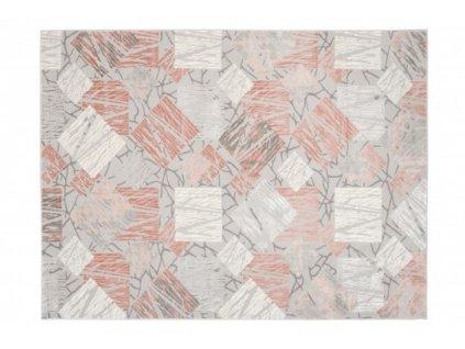 Moderní kusový koberec ASTHANE E464A světle šedý / tmavě růžový