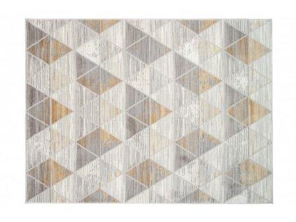 Moderní kusový koberec ASTHANE E460A Trojúhelníky světle šedý / tmavě žlutý