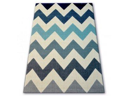 Moderní kusový koberec SCANDI 18248/371 Cik cak modrý / šedý