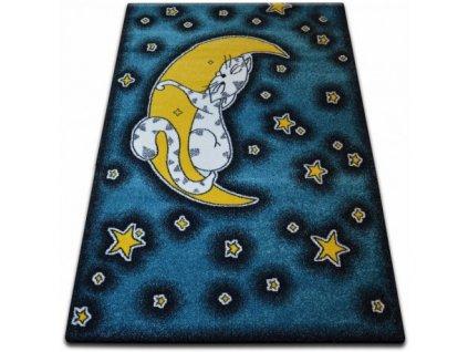 Dětský kusový koberec KIDS C414 Kočka modrý